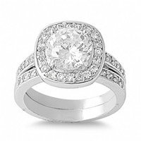 Fallon's Grand Round Cut Cubic Zirconia Wedding Ring Set
