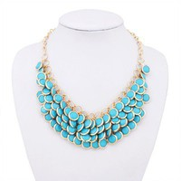 2012 Unique fashion design Blue Layered Gem Beads Bib Necklace free shipping