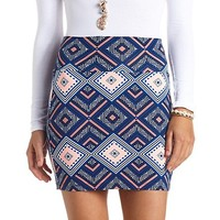 Geo-Tribal Print Bodycon Mini Skirt by Charlotte Russe - Blue Combo