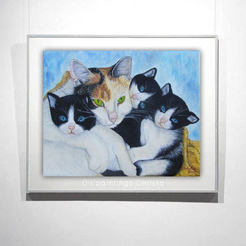 CUSTOM ORDER  Pets Painting, Oil Painting from Picture 8x10in, Cats, Kitties, dogs, Birthday gift, Christmas gift, Pet lovers, art