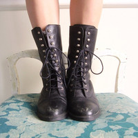 Black Leather Speed Lace Up Mid Calf Boots Vintage 80s-90s (Size 8.5-9)