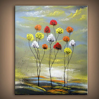 art original painting abstract lollipop tree mid century style modern painting large fun whimsical abstract art landscape original 22 x 28