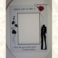 Couple In Love Paper Photo Matte Black Core Hand Painted Customize Weddings or Engagement