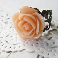 Peach Flower Cameo Ring - Filigree Rose Cabochon