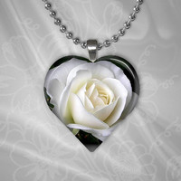 White Rose Heart Shape Glass Pendant