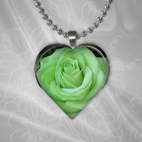Green Rose Heart Shape Glass Pendant