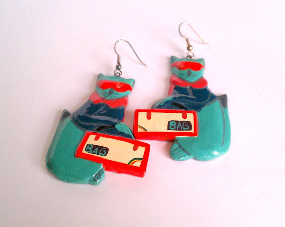 "1980s lacquered ""cat with a bag"" earrings - weird and unusual big huge shiny funky lightweight wooden cats in sunglasses - teal blue and red"