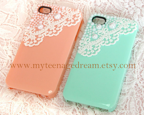 Romantic Lace Trim With light green iPhone 4/4S case, Apple iPhone 4 Case, iPhone 4s Case, iPhone 4 Hard Case iPhone Cover ON SALE