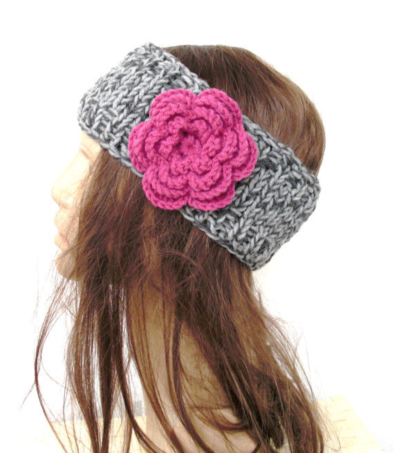 Hand Knit Headband with Flower boho from Ebruk on Etsy