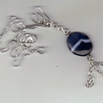 Wild Ivy Design | One of a kind Blue Botswana Agate & Sterling silver designer necklace | Online Store Powered by Storenvy