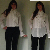 Stunning Ruffled 1950s Mens Tuxedo Shirt. Saks Fifth Avenue. White. Small to Medium.