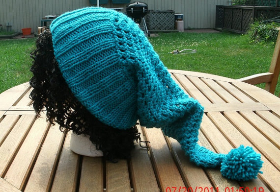 Hand Knit Hat - The Pixie in Teal - Knit Hat -Handmade hat -Woman's Hat