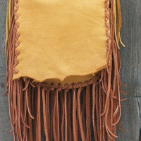 Fringed leather handbag Bohemian gypsy earth bag Fringed leather purse