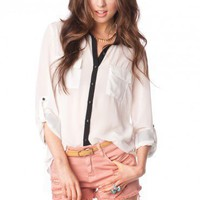 Fontaine Blouse in White - ShopSosie.com