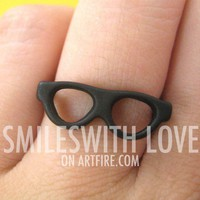Glasses Shades Spectacles Ring in Black - Sizes 4 and 5