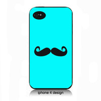 Tiffany Blue Mustache iphone 4 cell phone case