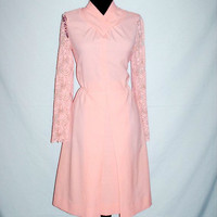 SALE 20% Off/ 1960s Vintage Mod Peach Pink Dress