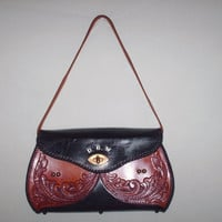 Sale 20% off/ Vintage Tooled Leather Handbag