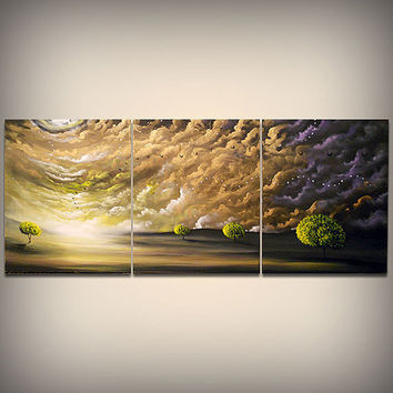 art painting tree painting original painting 66 x 28 yellow gold cloud texture impressionist original abstract landscape impasto wall decor