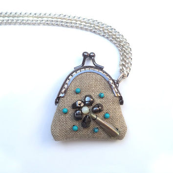 Boho pendant / Mini Clutch - Linen and semiprecious stones: Turqueoises, hematites, opals, mother of pearl and amethyst - Linen jewelry