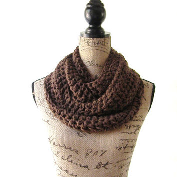 Chocolate Brown Scarf Fall Winter Women's Accessory Infinity Scarf