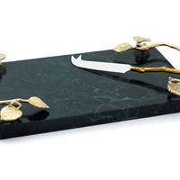 Leaf Marble Cheese Platter & Knife, Cheese Knives