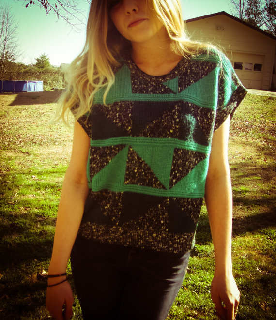 Vintage Geometric Triangle Grey and Teal Oversized Sweater