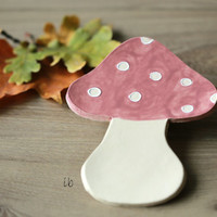 Ceramic Mushroom Plate Pink  and White Dots Dish Mauve Pottery Spoon Rest Woodland Kitchen Decoration