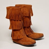 Minnetonka 3-Layer Fringe Calf Hi Boot | American Eagle Outfitters