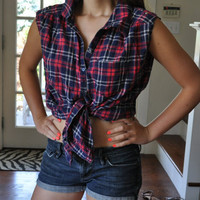 Grunge Plaid Button Down Tie Front