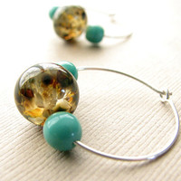 Lampwork Glass Earrings - Small Sterling Silver Hoops, Earthy Jewelry, Bohemian Style
