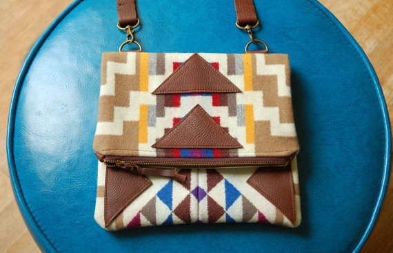 SEE SALE CODE- Pendleton and leather foldover clutch- Marquesa bag