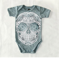 Faded Grey Skull Bodysuit 6 9 12 month Distressed Toddler sugar skull top. Trendy baby clothes. Girl Boy tshirt Kids one piece snap shirt