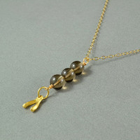 Smoky Quartz Wishbone Necklace, Wire Wrapped Beads, 14K Gold Filled Chain, Wonderful Jewelry