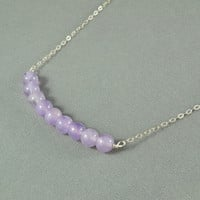 Beautiful Amethyst Beads Necklace, Wire Wrapped Beads, 925 Sterling Silver Chain, Wonderful Jewelry