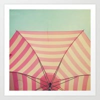 Pink Umbrella Aqua Sky Art Print by simplyhue | Society6