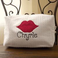Personalized Large Cosmetic Bag - Kiss Me Lips
