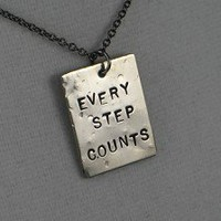 EVERY STEP COUNTS - Nickel pendants with 18 inch gunmetal chain