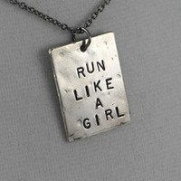 LIKE A GIRL NECKLACE - Choose either RUN, BIKE, SWIM or FIGHT -3/4 x 1 inch Nickel Silver pendant with 18 inch gunmetal chain