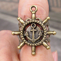 anchor and ship wheel  ring, Adjustable Band