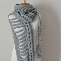 Knit Scarf Grey infinity scarf ,neckwarmer,cowl,winter fashion Send via DHL EXPRESS