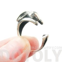 Bunny Rabbit Animal Wrap Around Hug Ring In Solid 925 Sterling Silver
