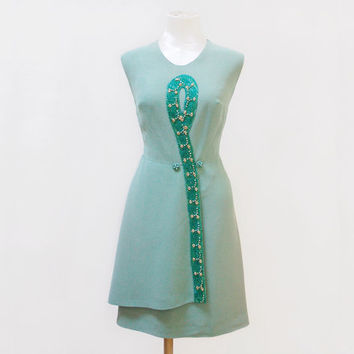 50s handmade Dress / italian beaded aqua evening cocktail dress / mint green / M medium / tailored wedding dress