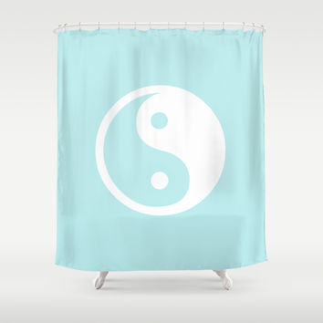 Turquoise Aqua Blue Harmony Yin Yang Shower Curtain by BeautifulHomes