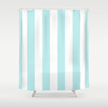Turquoise Aqua Blue Stripe Vertical Shower Curtain by BeautifulHomes