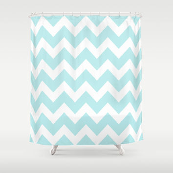 Turquoise Aqua Blue Chevron Shower Curtain by BeautifulHomes
