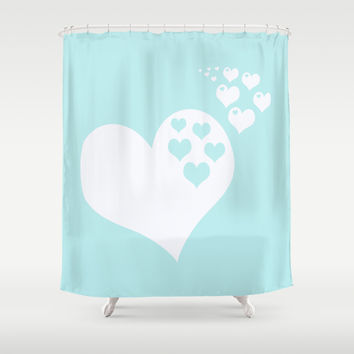 Turquoise Aqua Blue Hearts of Love Shower Curtain by BeautifulHomes