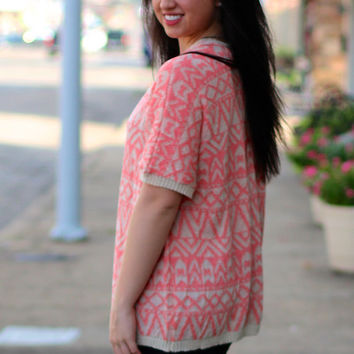 Neon Nights Knit Cardigan {Pink+Taupe}