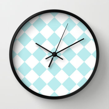 Turquoise Aqua Blue Diamond Wall Clock by BeautifulHomes