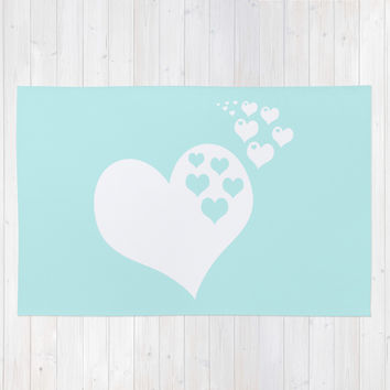 Turquoise Aqua Blue Hearts of Love Area & Throw Rug by BeautifulHomes
